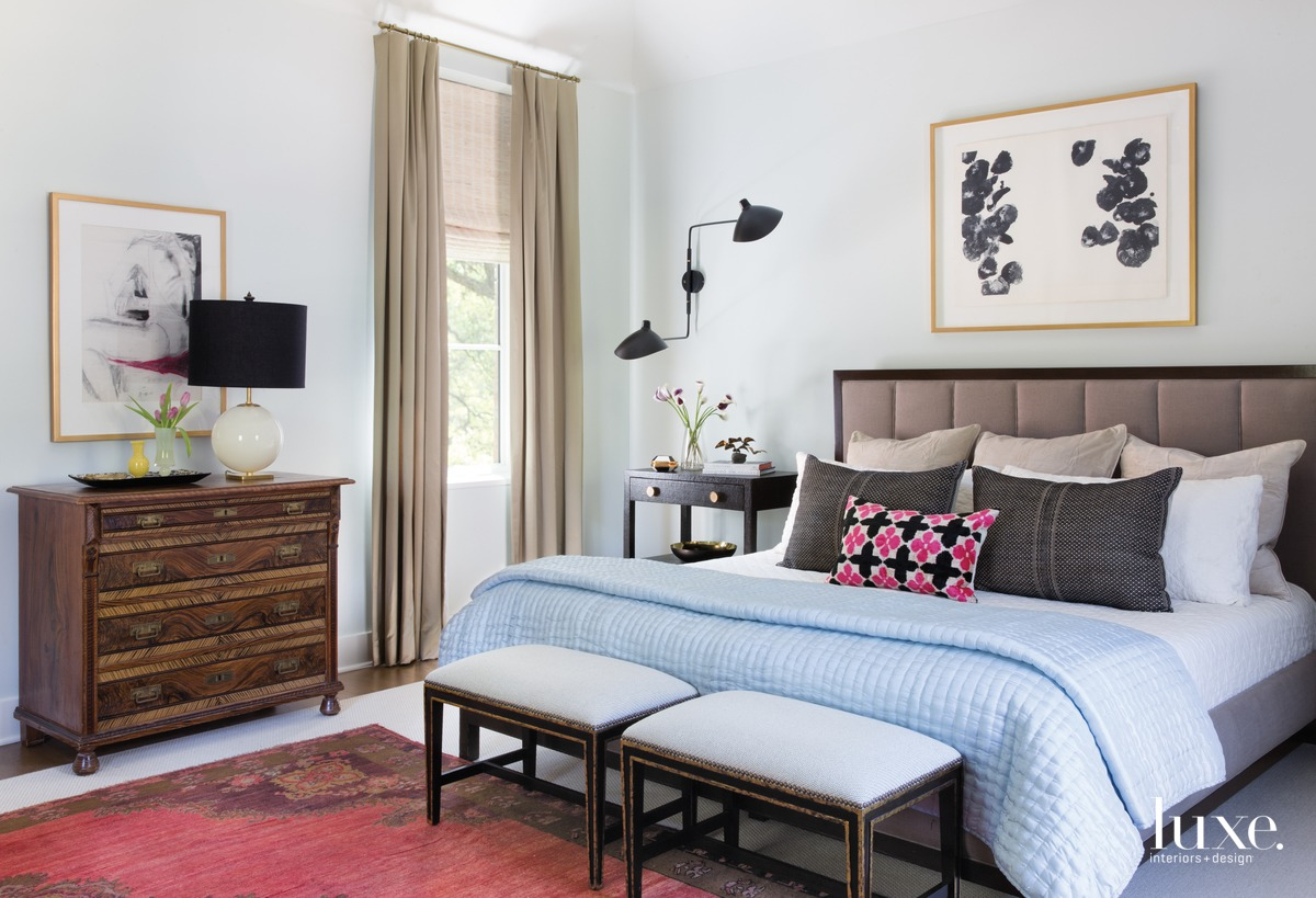 eclectic neutral bedroom