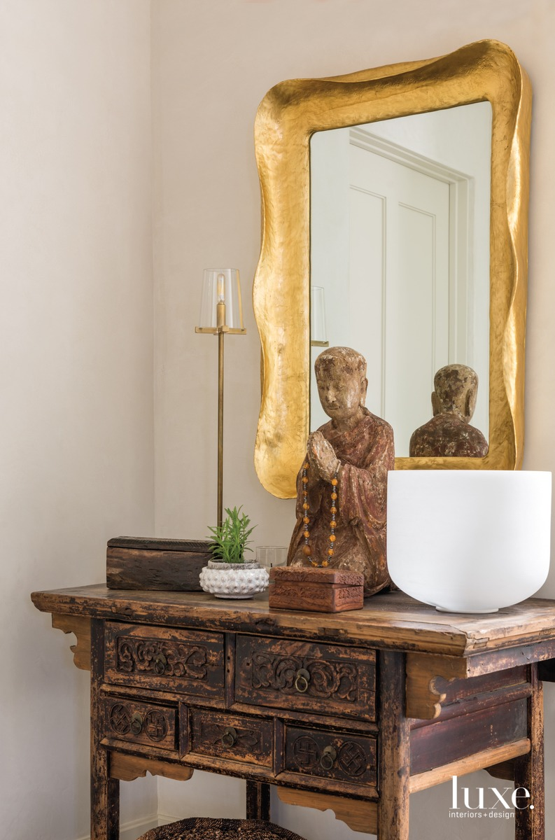 transitional console table and mirror...