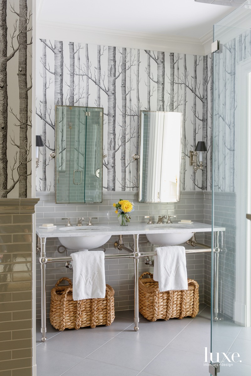 traditional bathroom gray tile and...