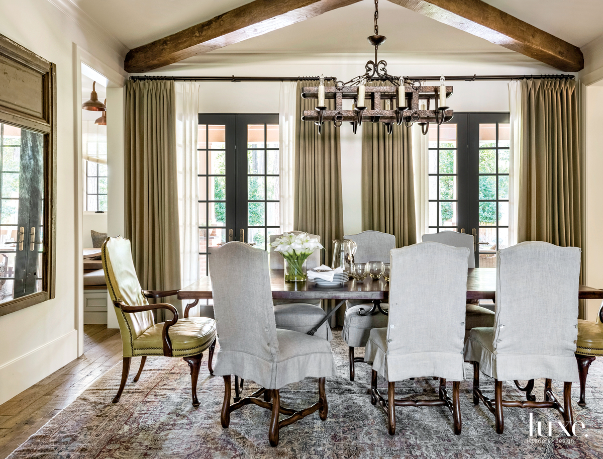 traditional neutral dining room gray...