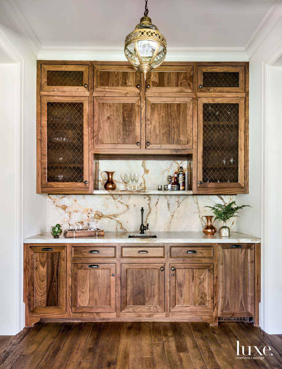 traditional bar walnut cabinets marble...