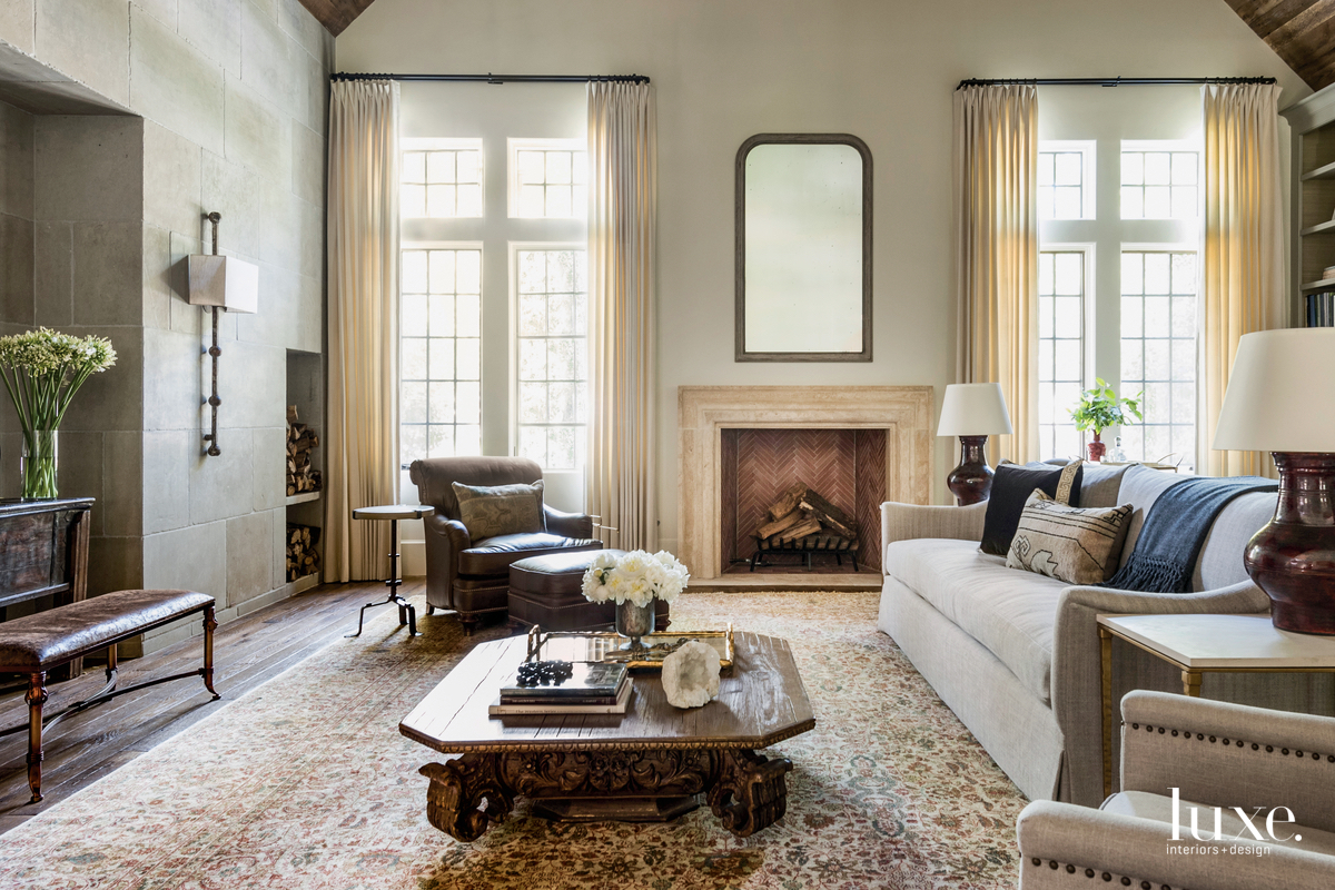 traditional living room brown neutral...