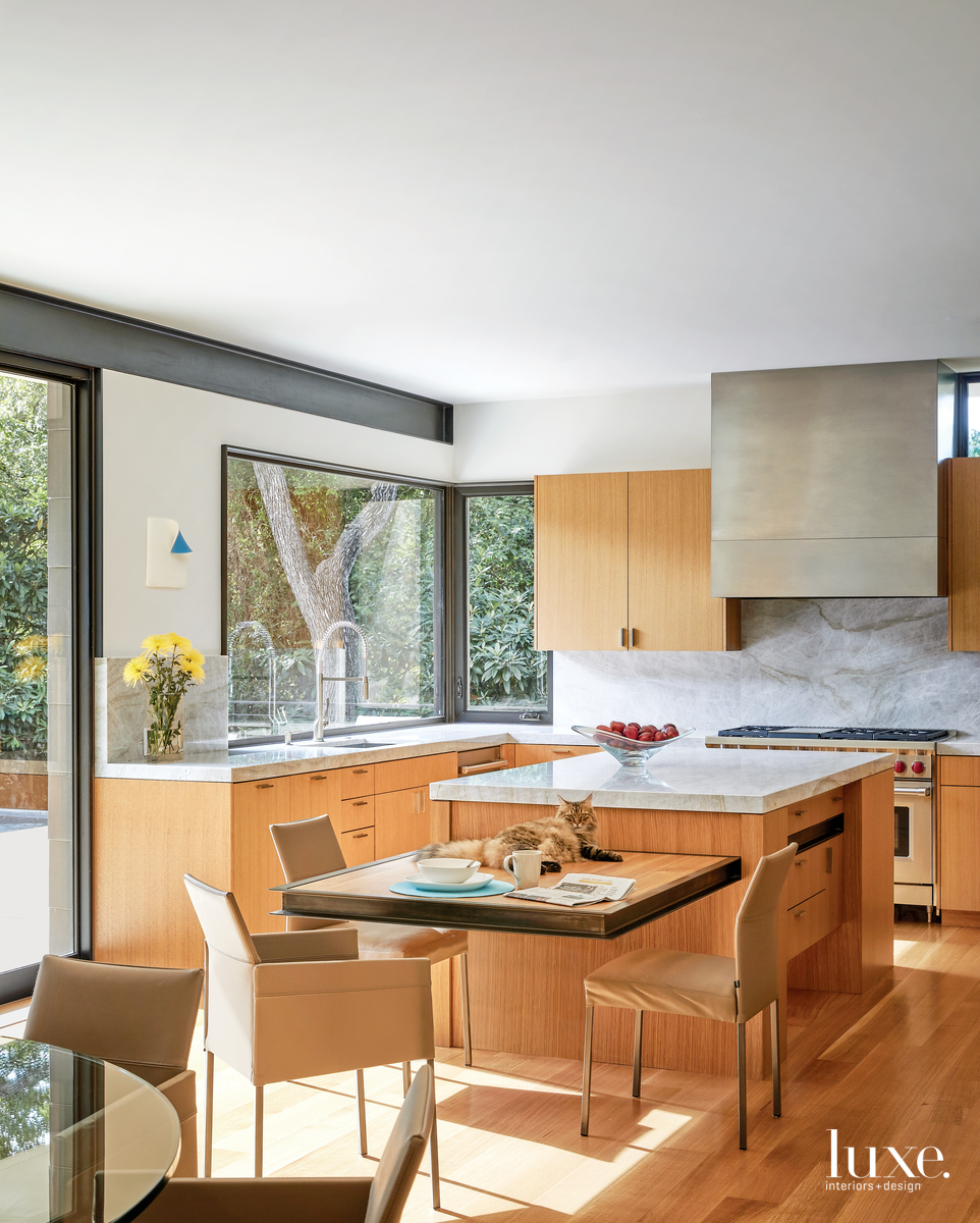 contemporary neutral kitchen and sitting...