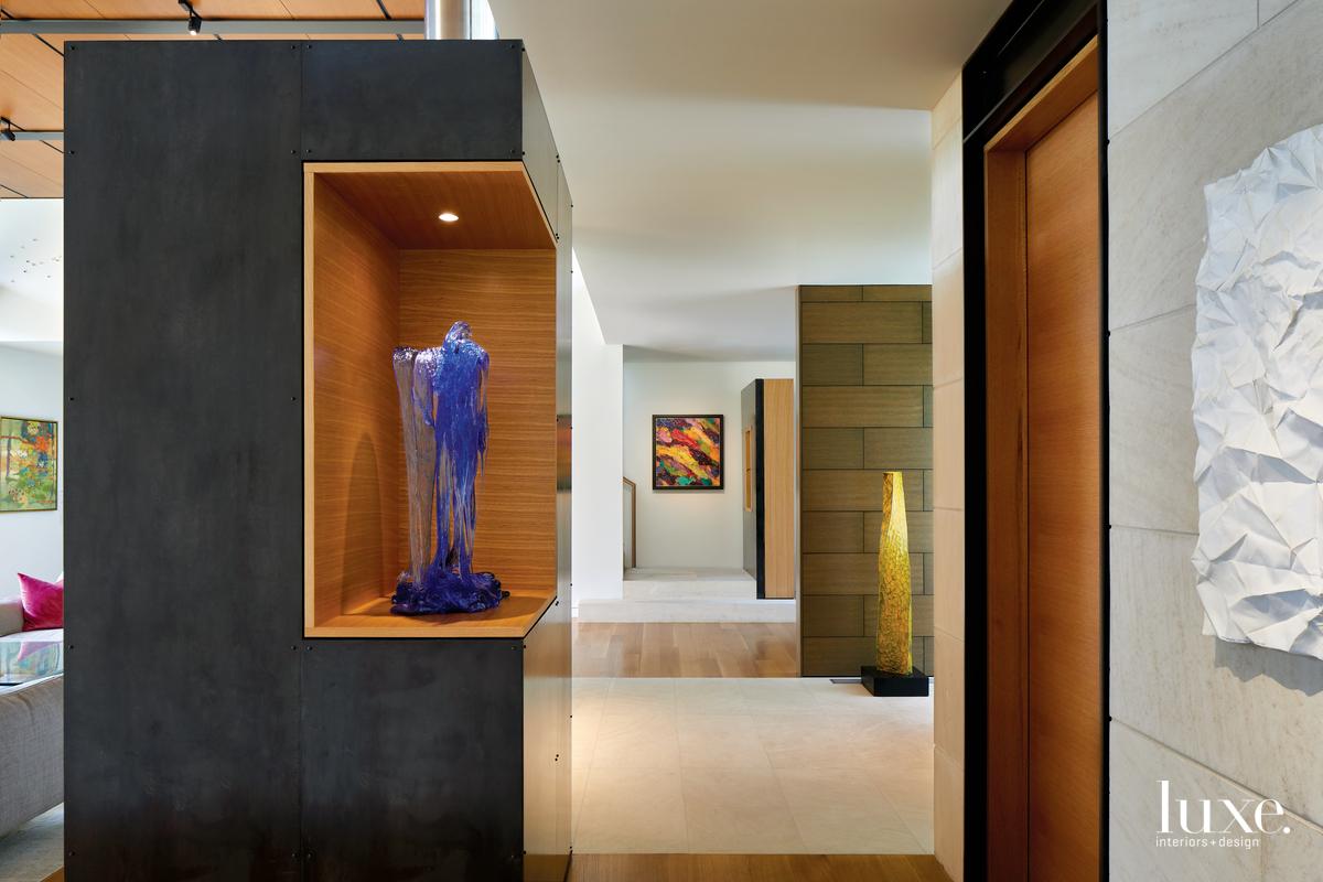 contemporary foyer neutral sculptures