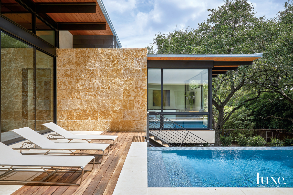 contemporary exterior pool and lounge...