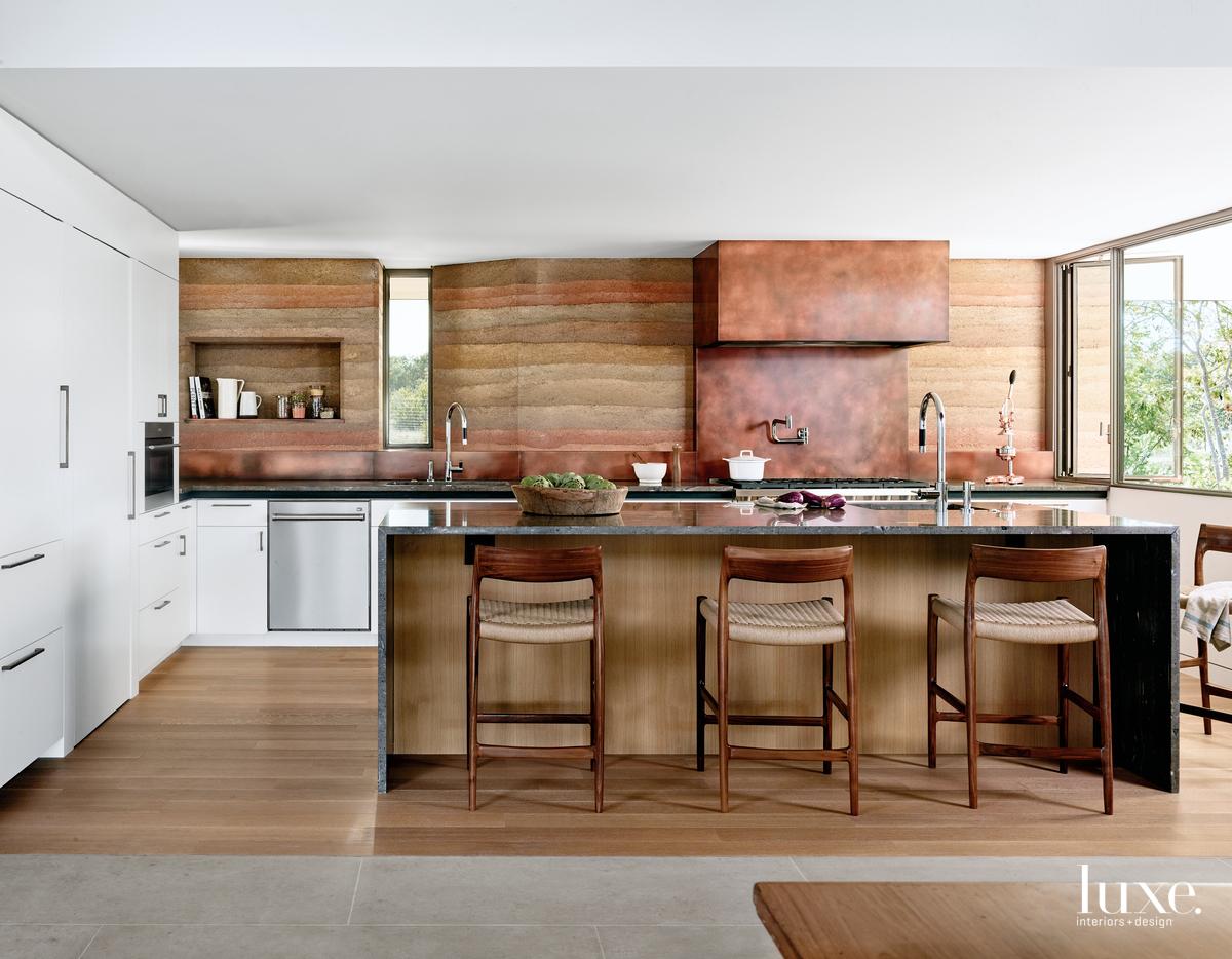 modern brown kitchen white cabinetry