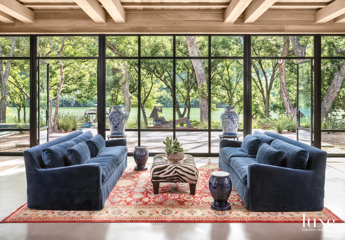 eclectic sitting area blue velvet...