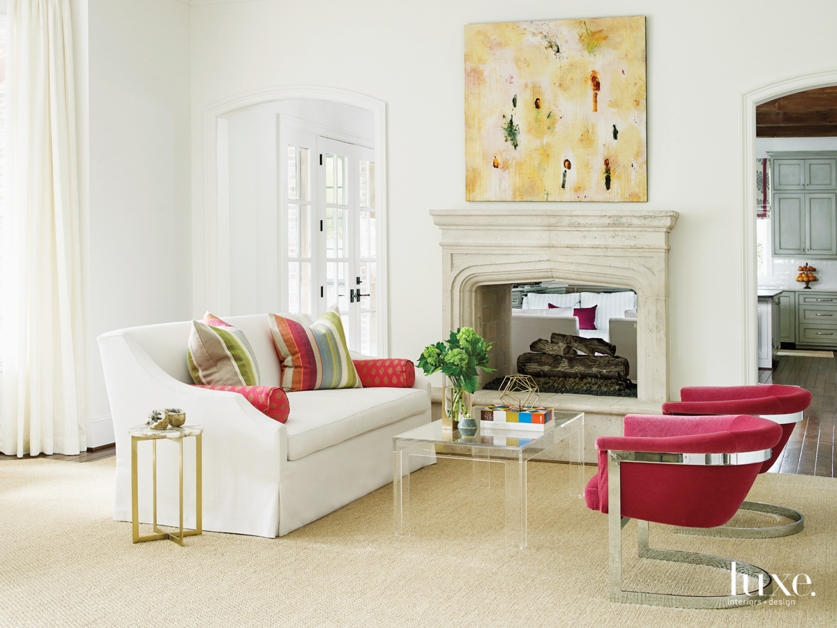 transitional living room pink accents