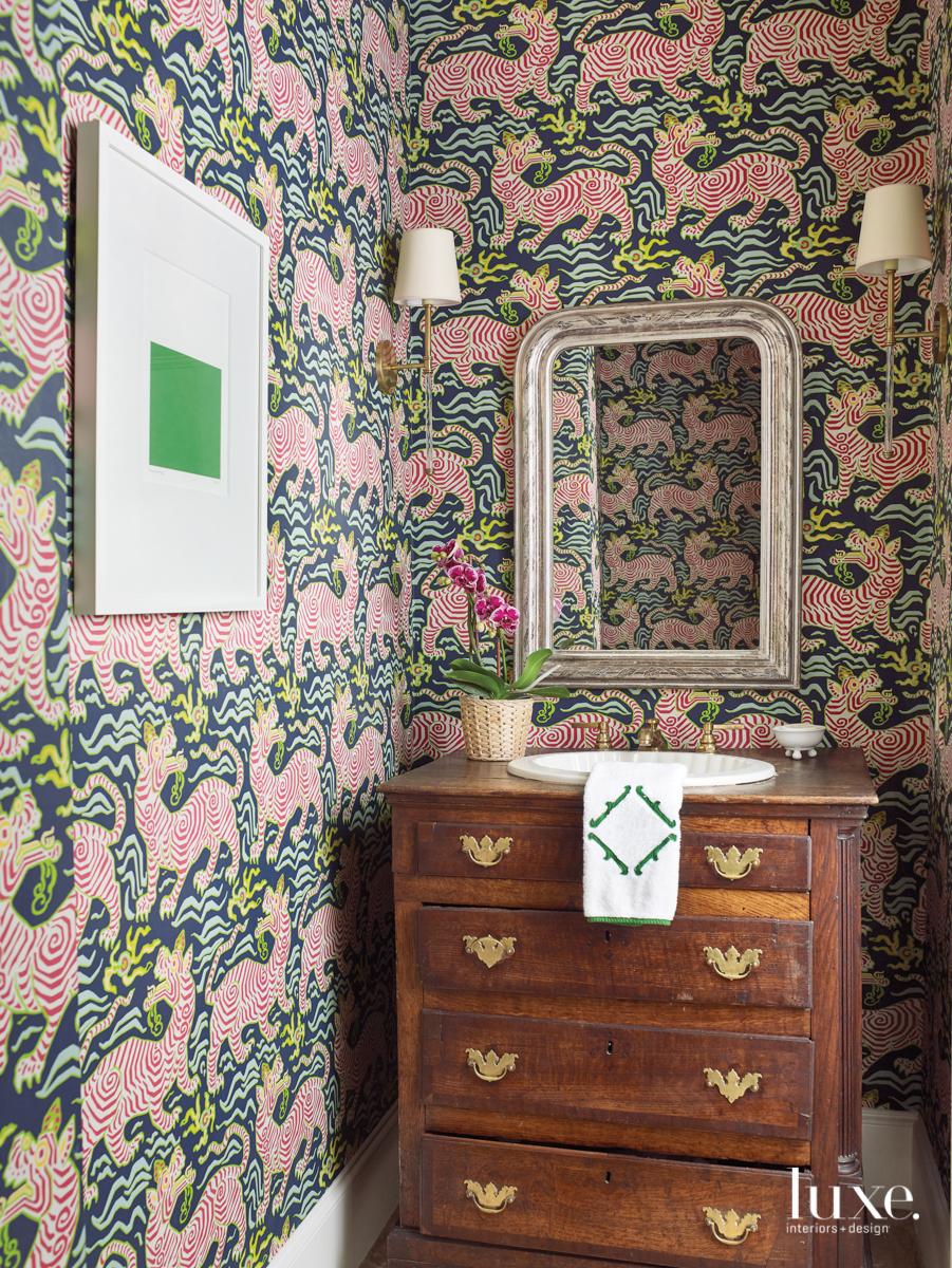 transitional bathroom colorful animal print...