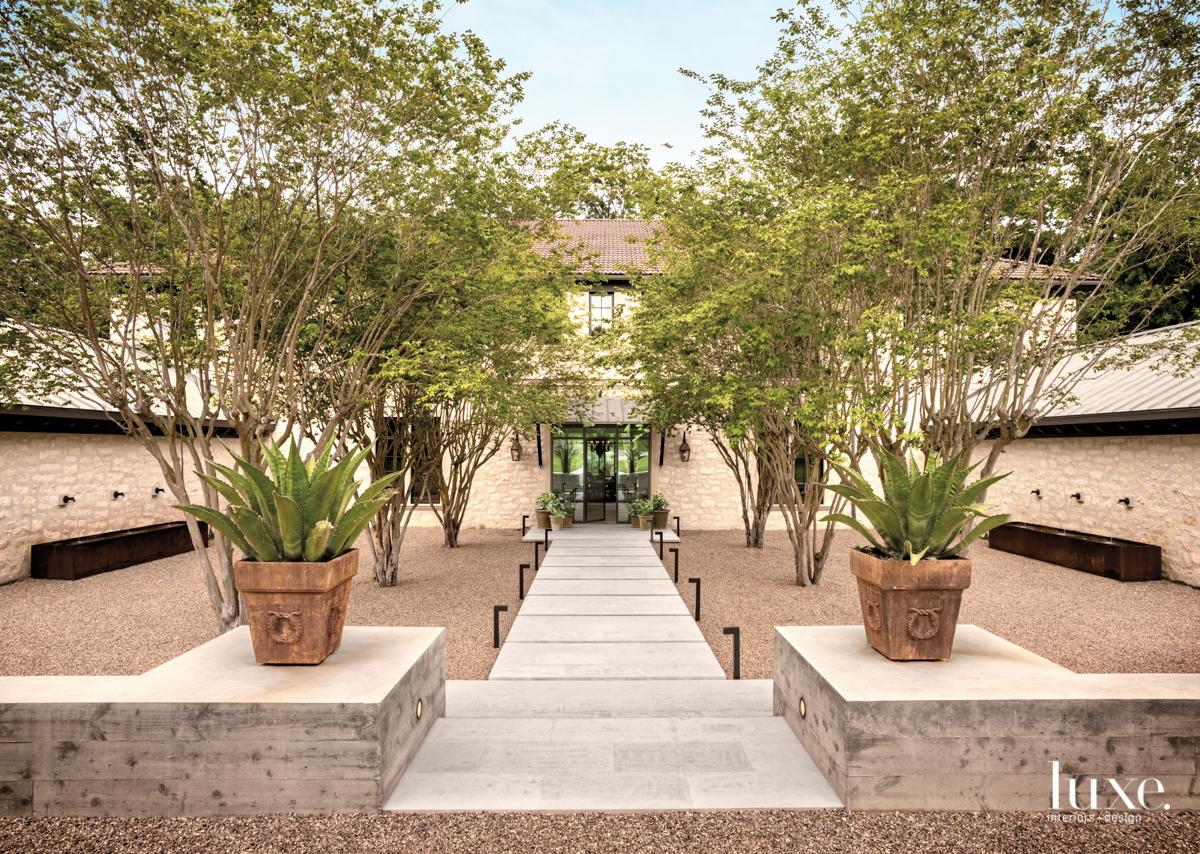 eclectic exterior neutral walkway