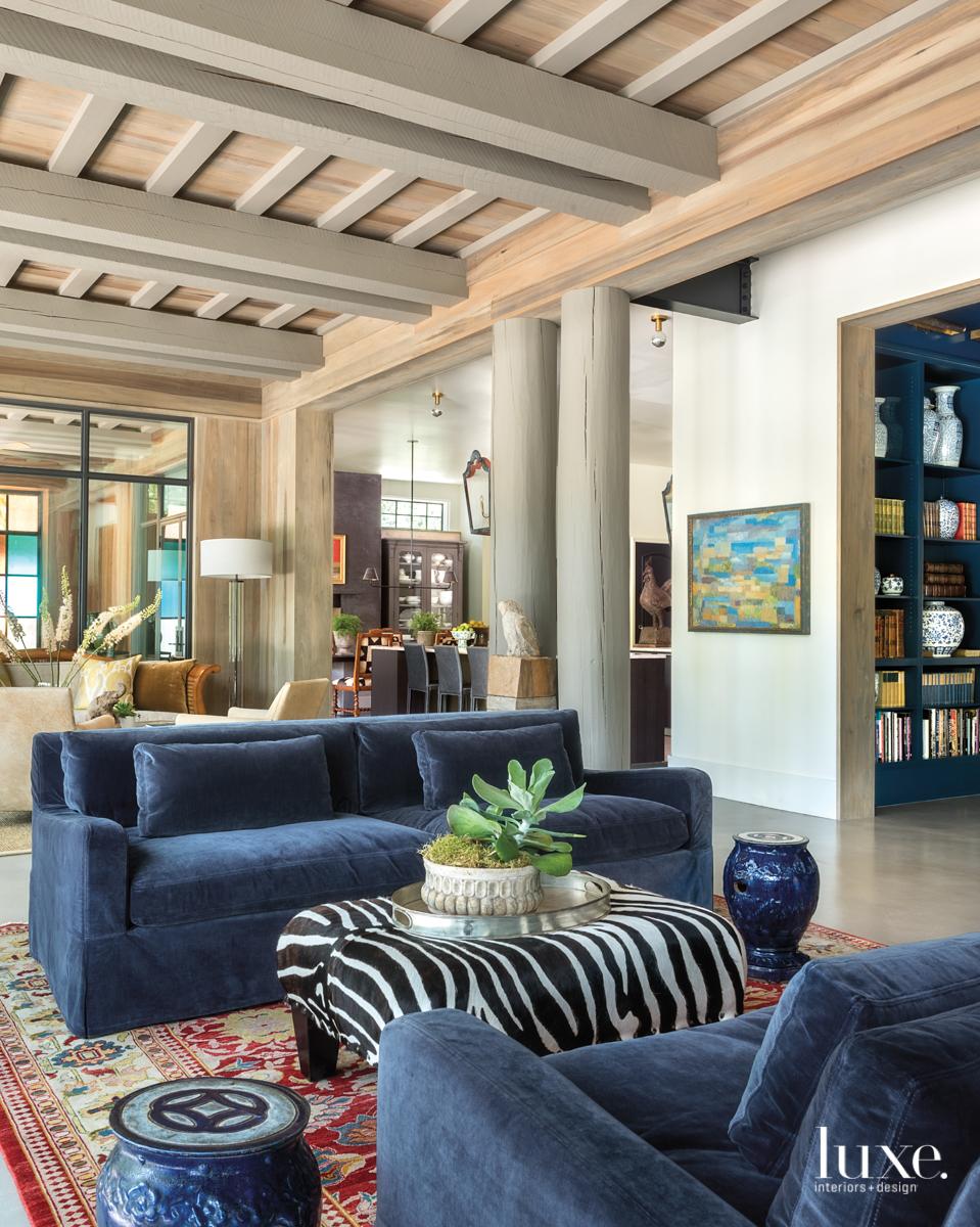 eclectic living area blue velvet...