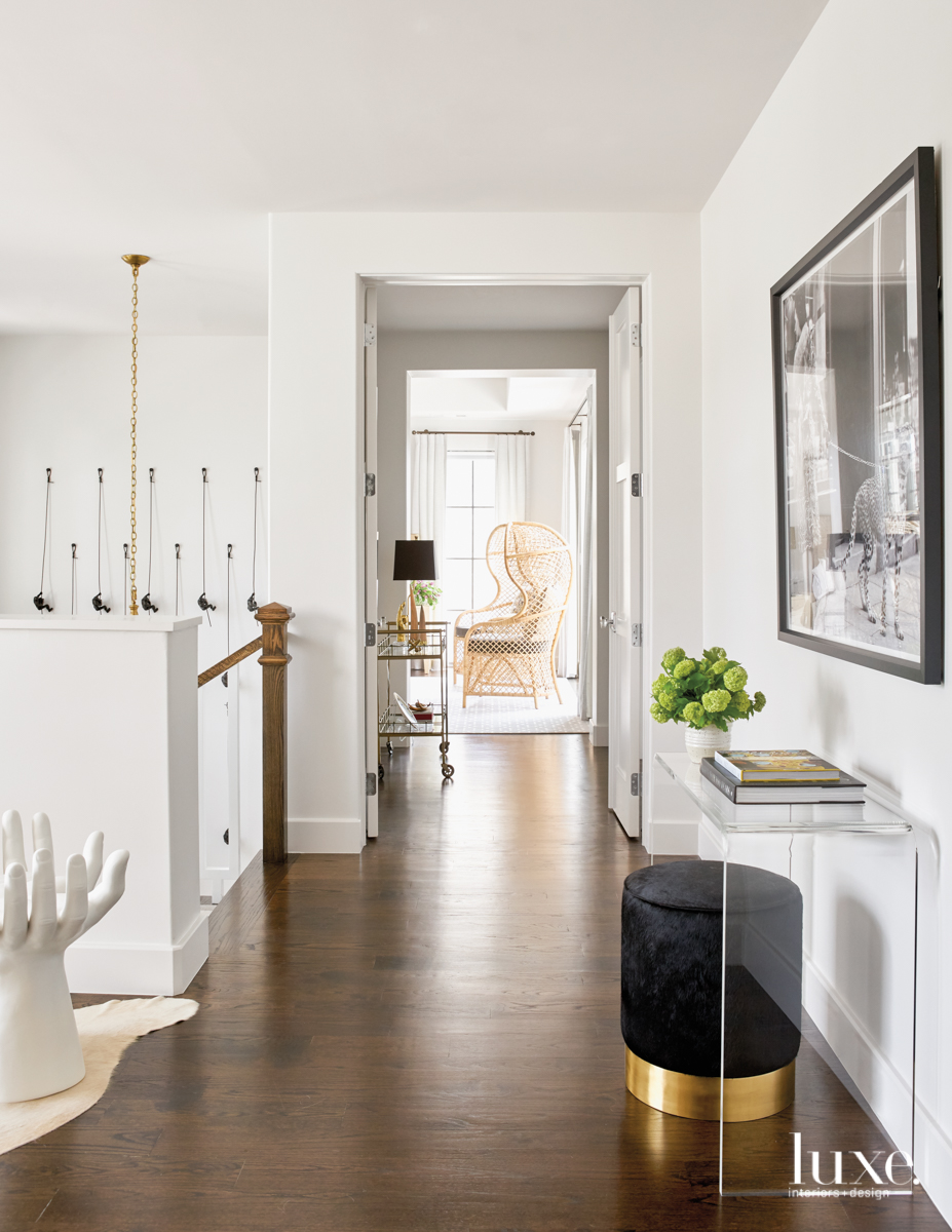 contemporary hallway white clear console...