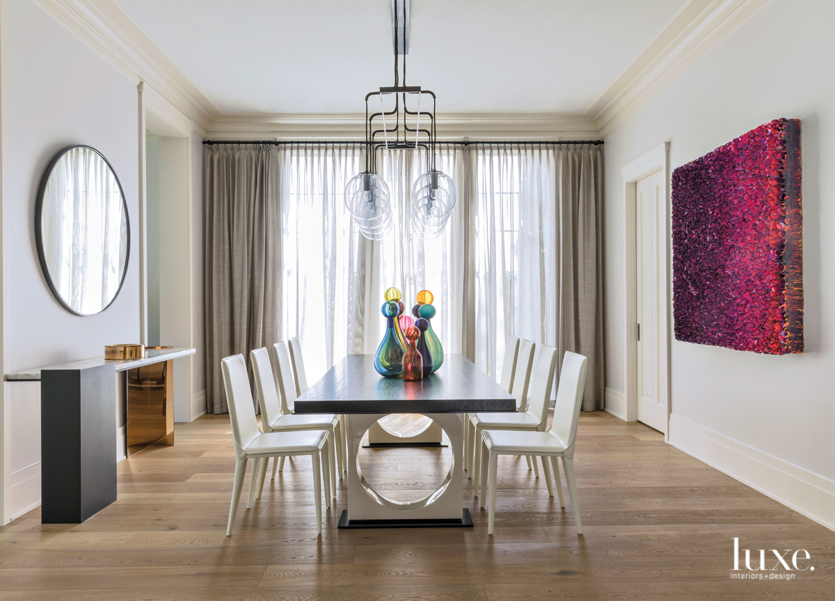 transitional dining room white chairs