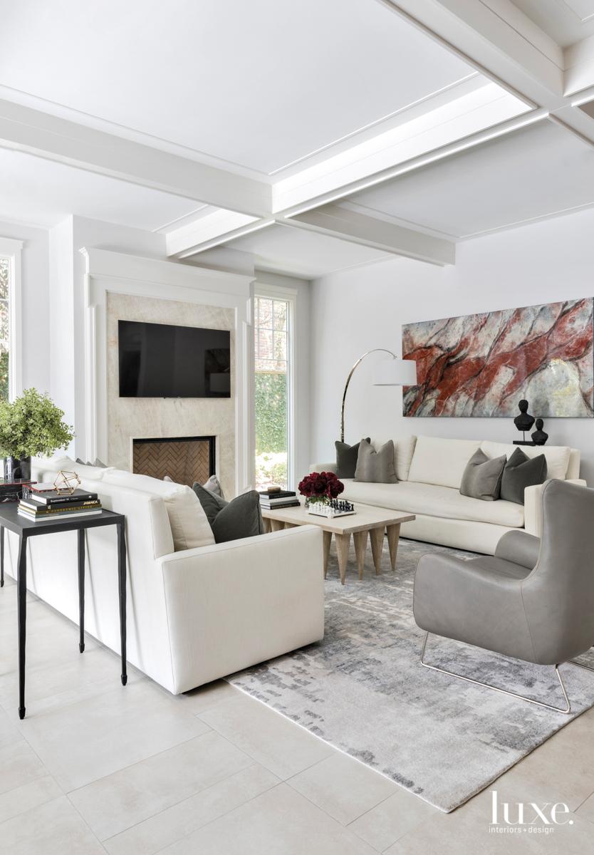 transitional living room white gray...