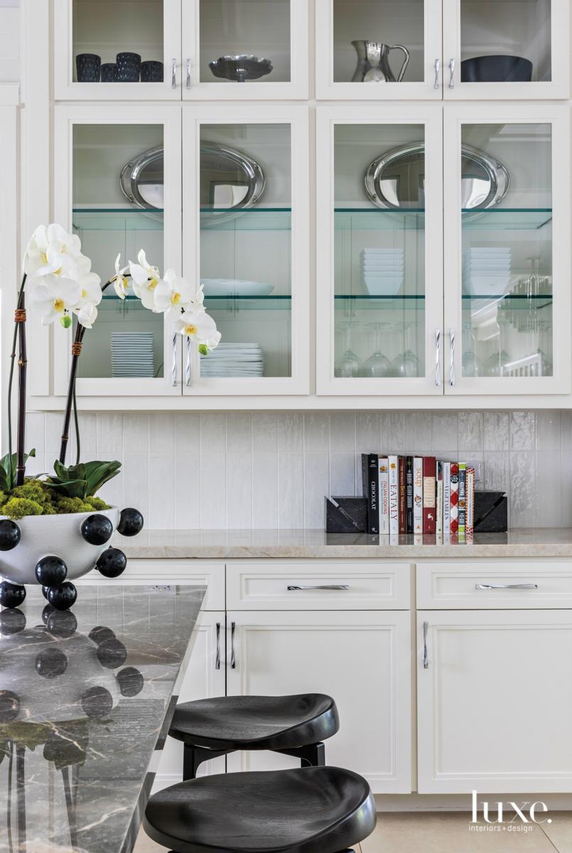 transitional kitchen black stools white...