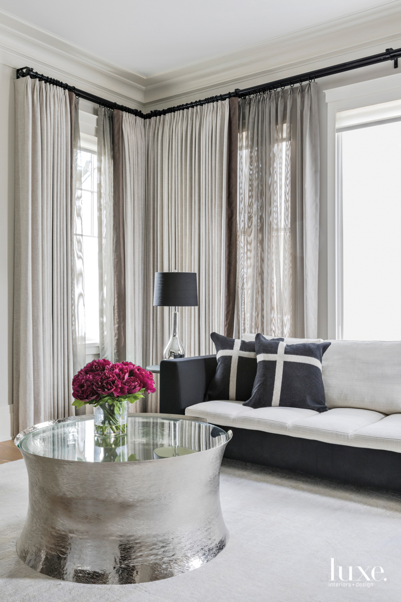 transitional bedroom sitting area silver...