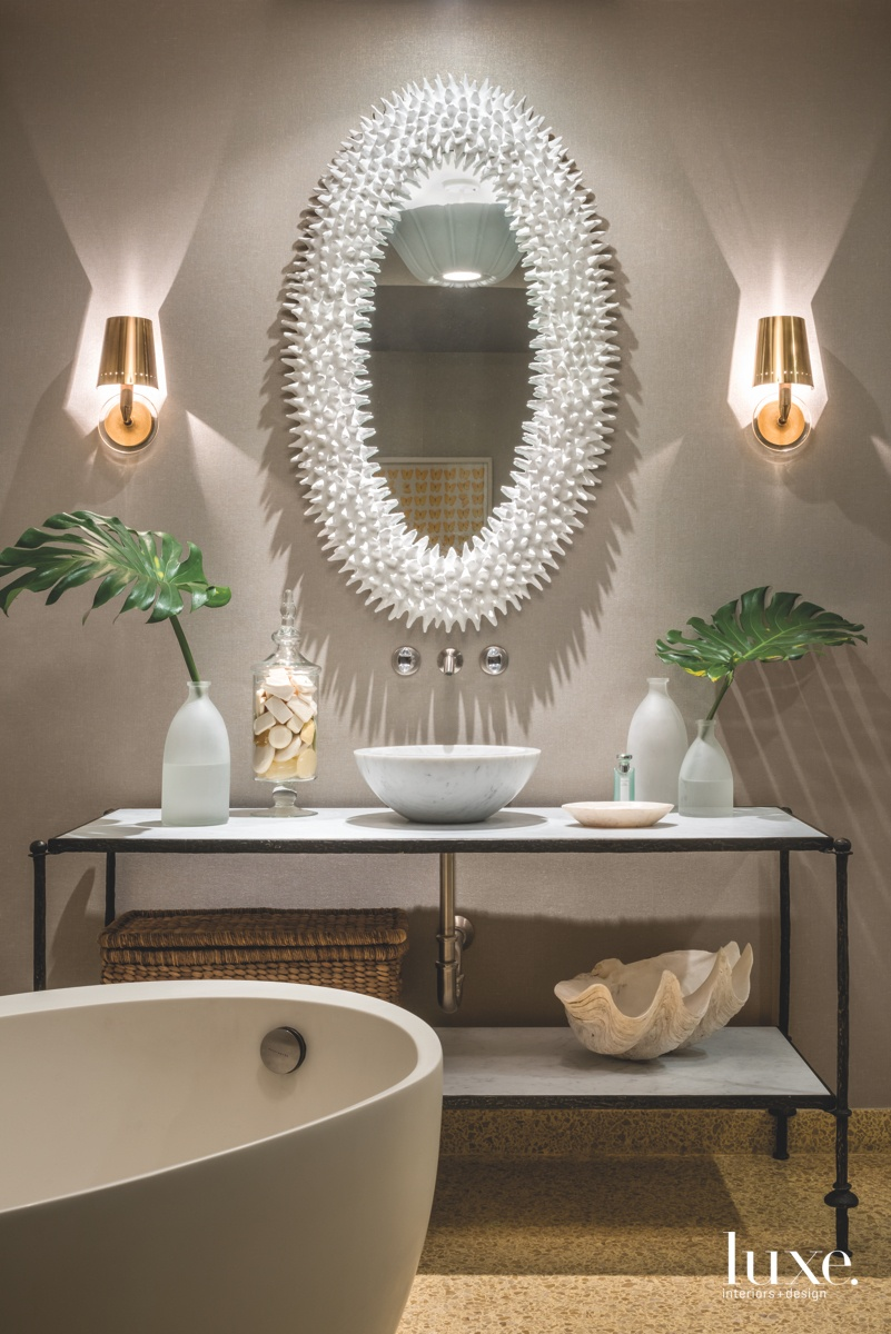 contemporary bathroom two-tired console table...