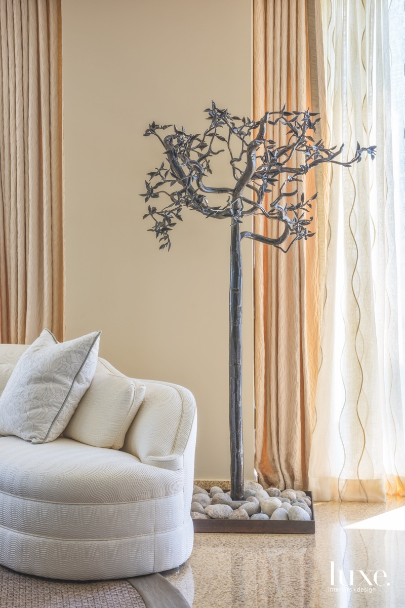 contemporary living room wrought-iron tree...