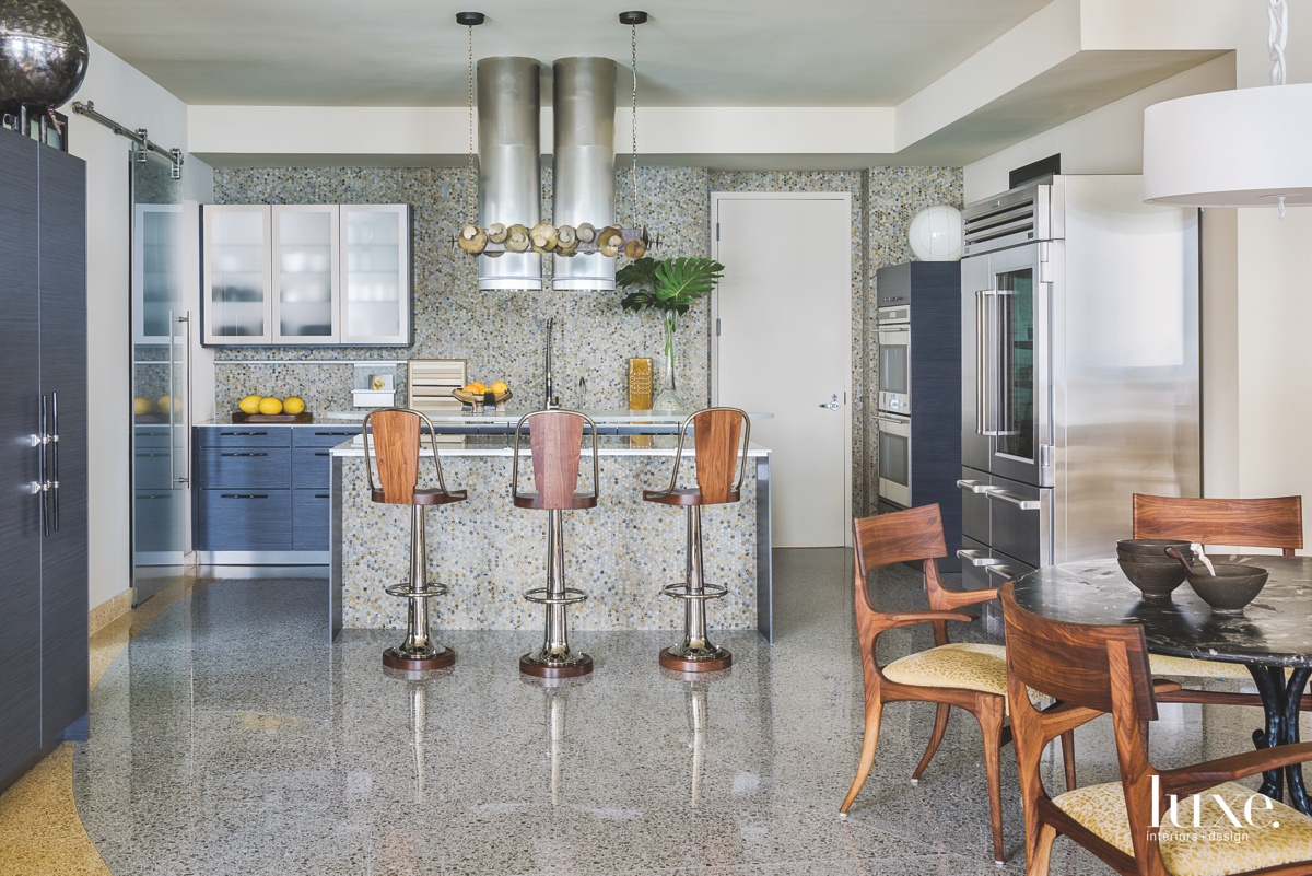 contemporary kitchen glass tile walls...