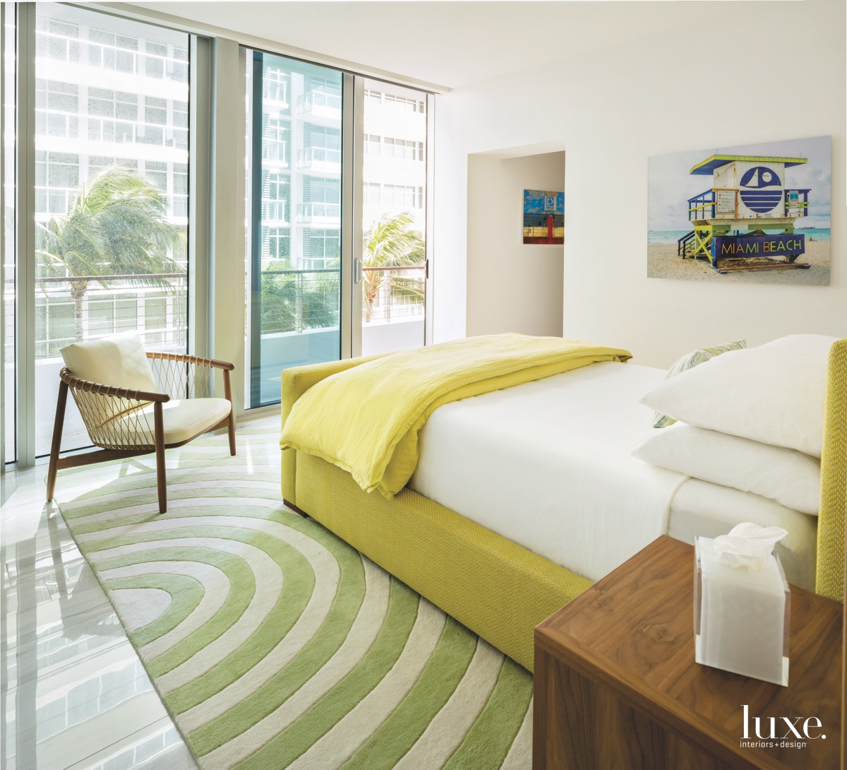 modern bedroom yellow and green...