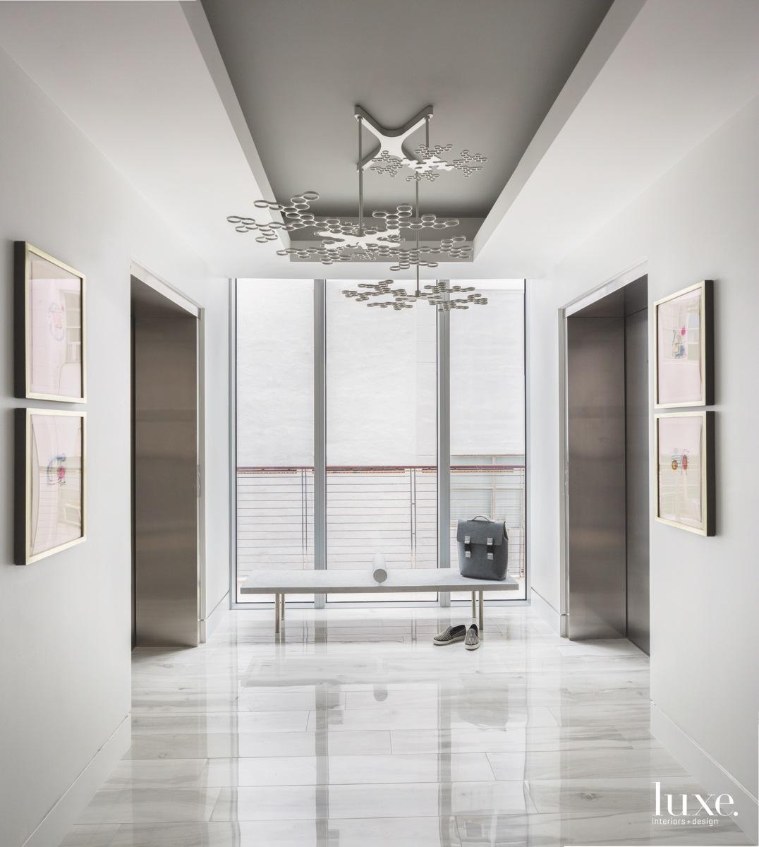 modern foyer light fixture artwork...