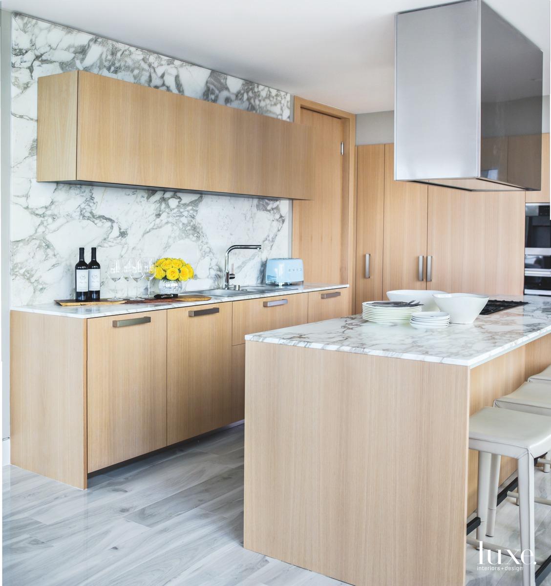 modern kitchen marble backsplash and...