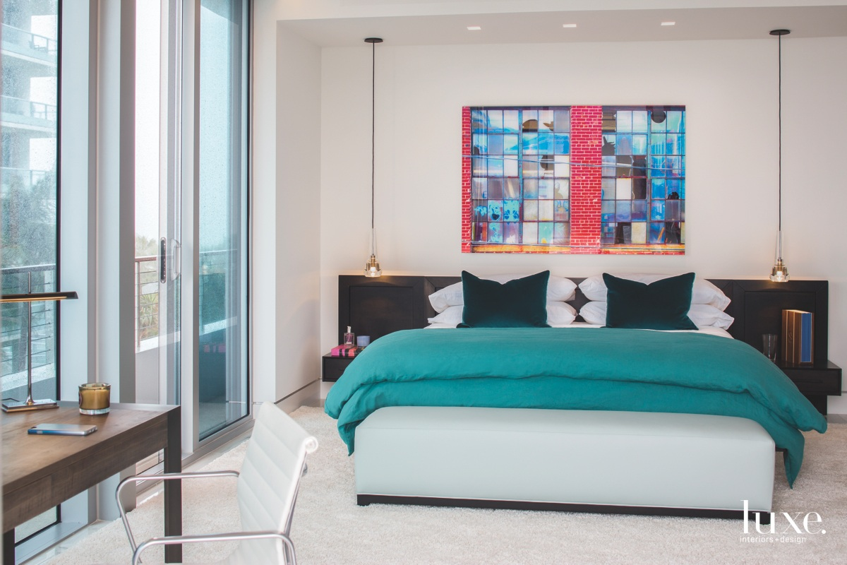 modern bedroom multi-colored pendant lights
