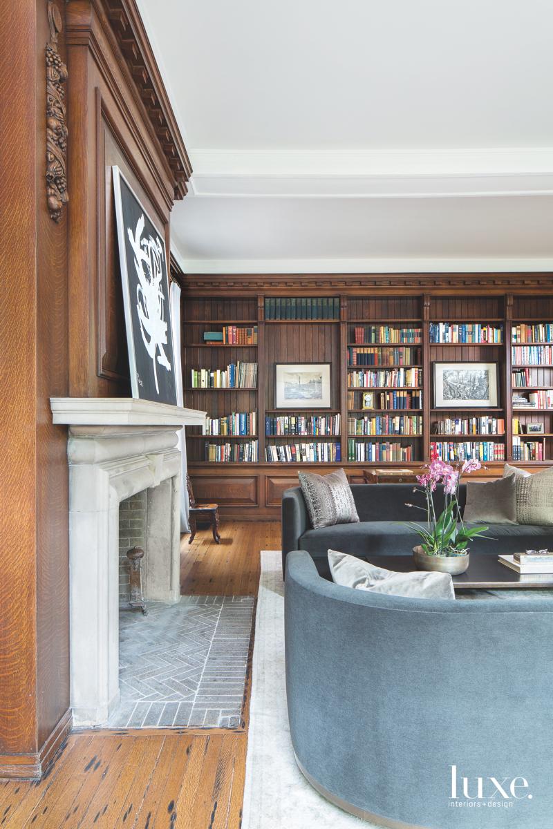 transitional living room study bookshelves...