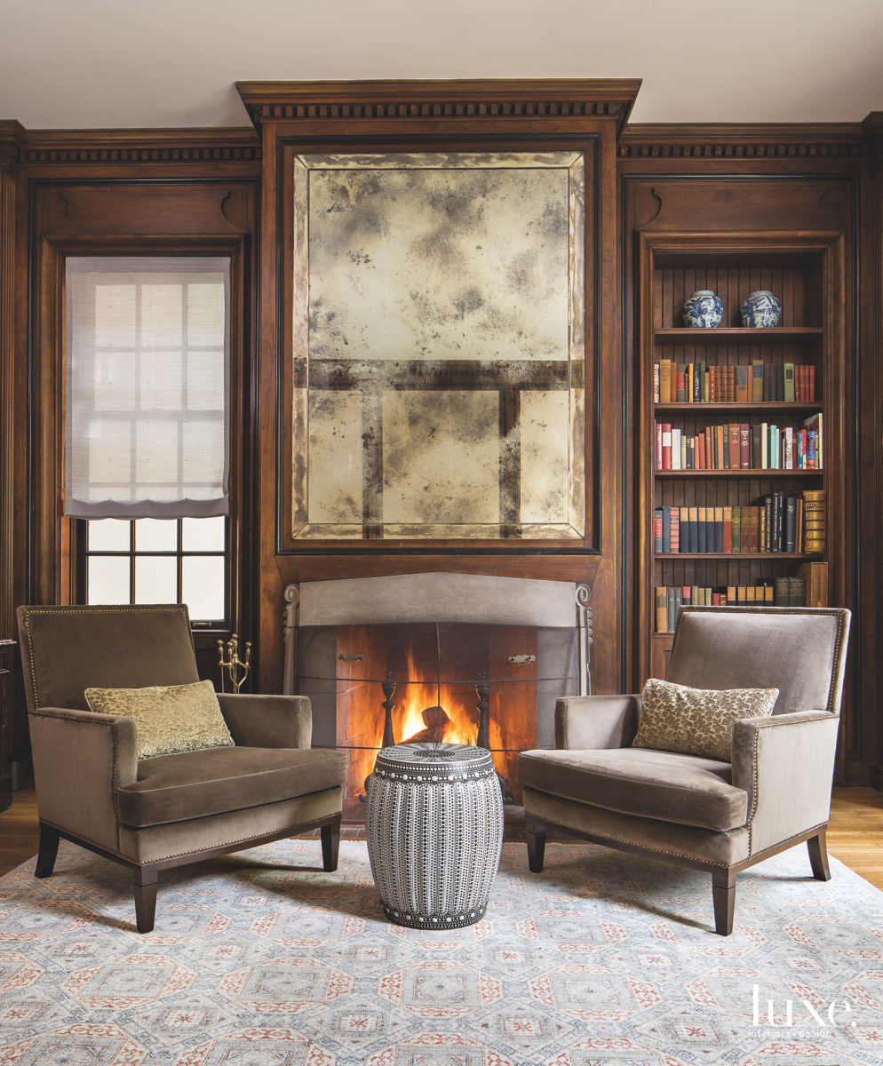 transitional study sitting area fireplace