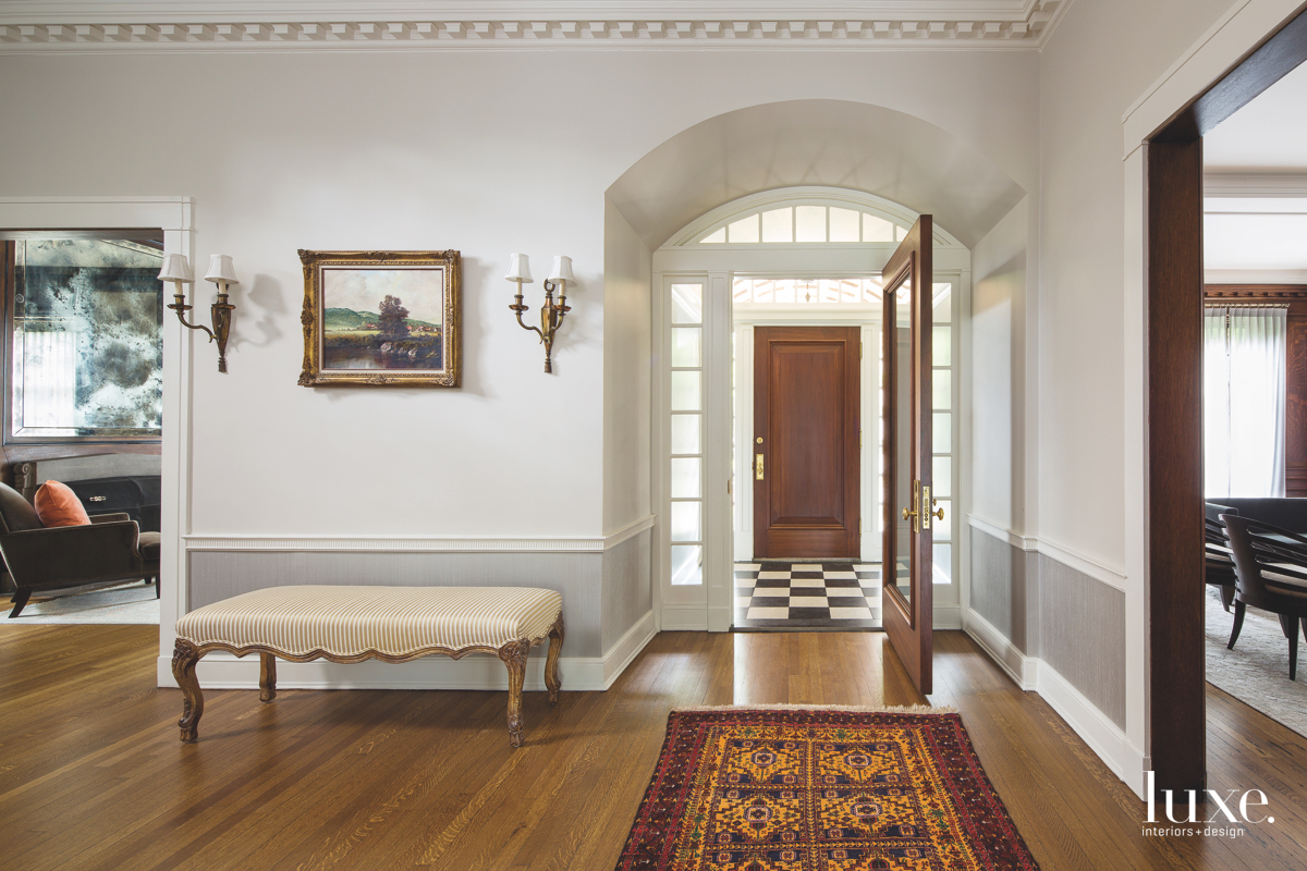 transitional entry foyer brown door...