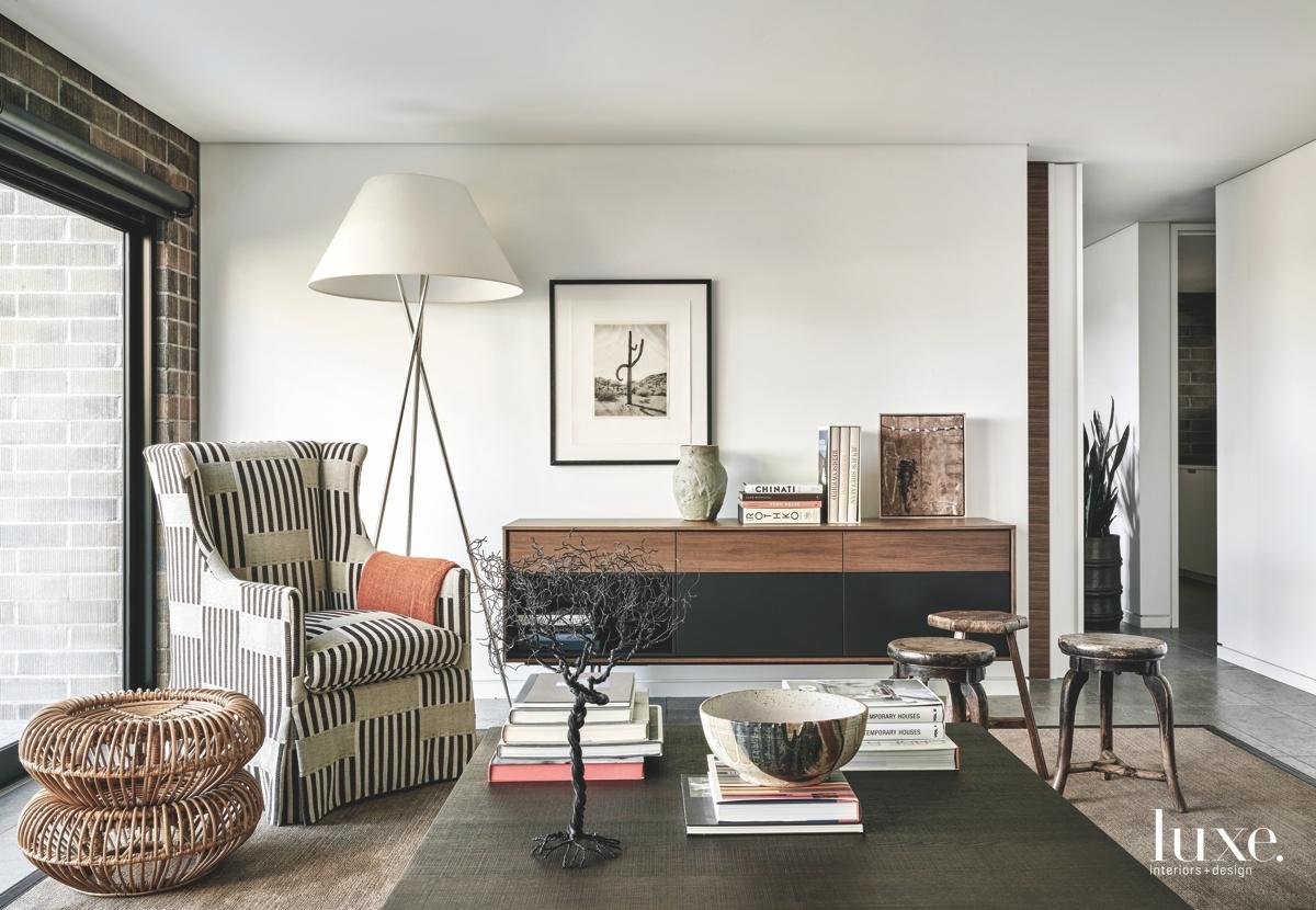 contemporary living room rattan ottomans...