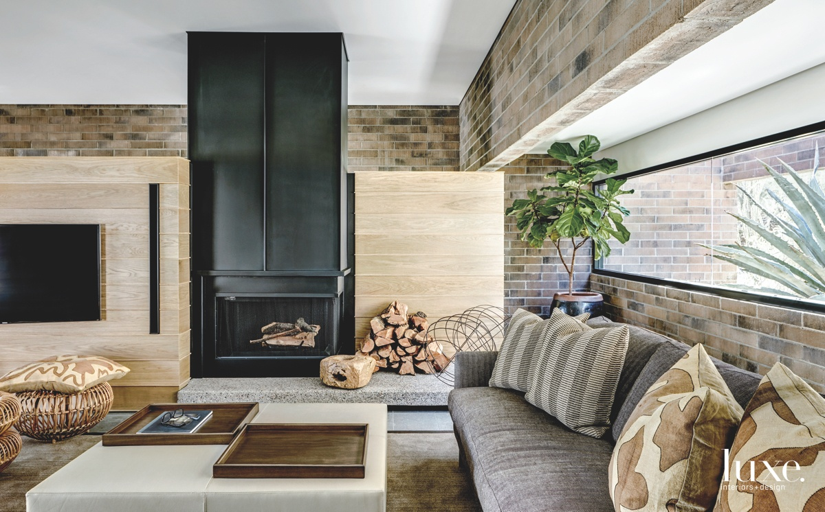 contemporary living room wood plank...