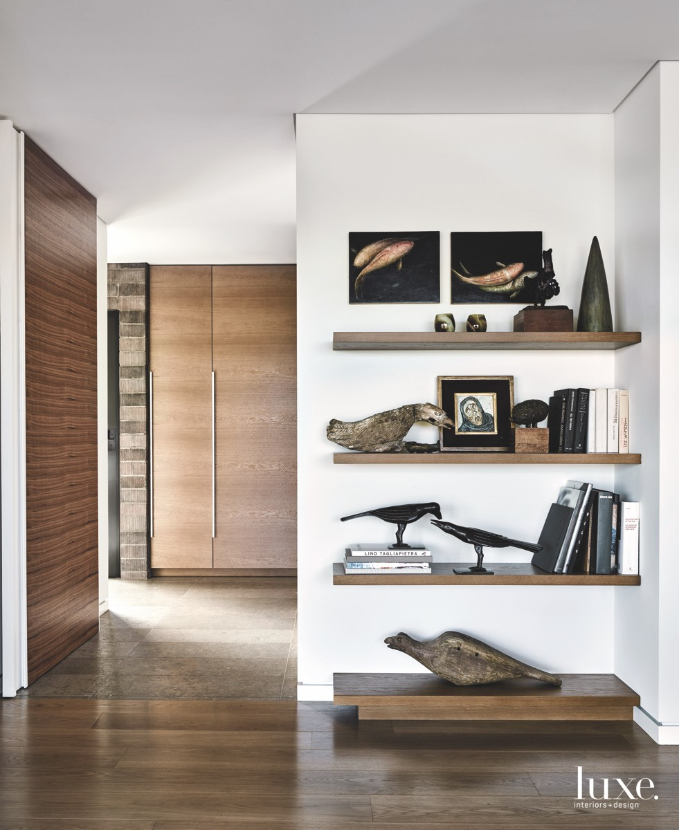 contemporary bedroom cantilevered floating shelves...