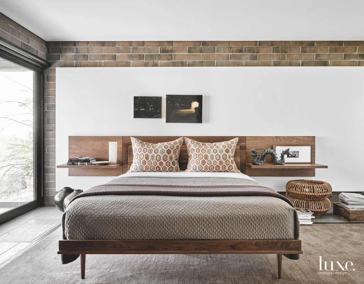 contemporary bedroom brown accents floating...