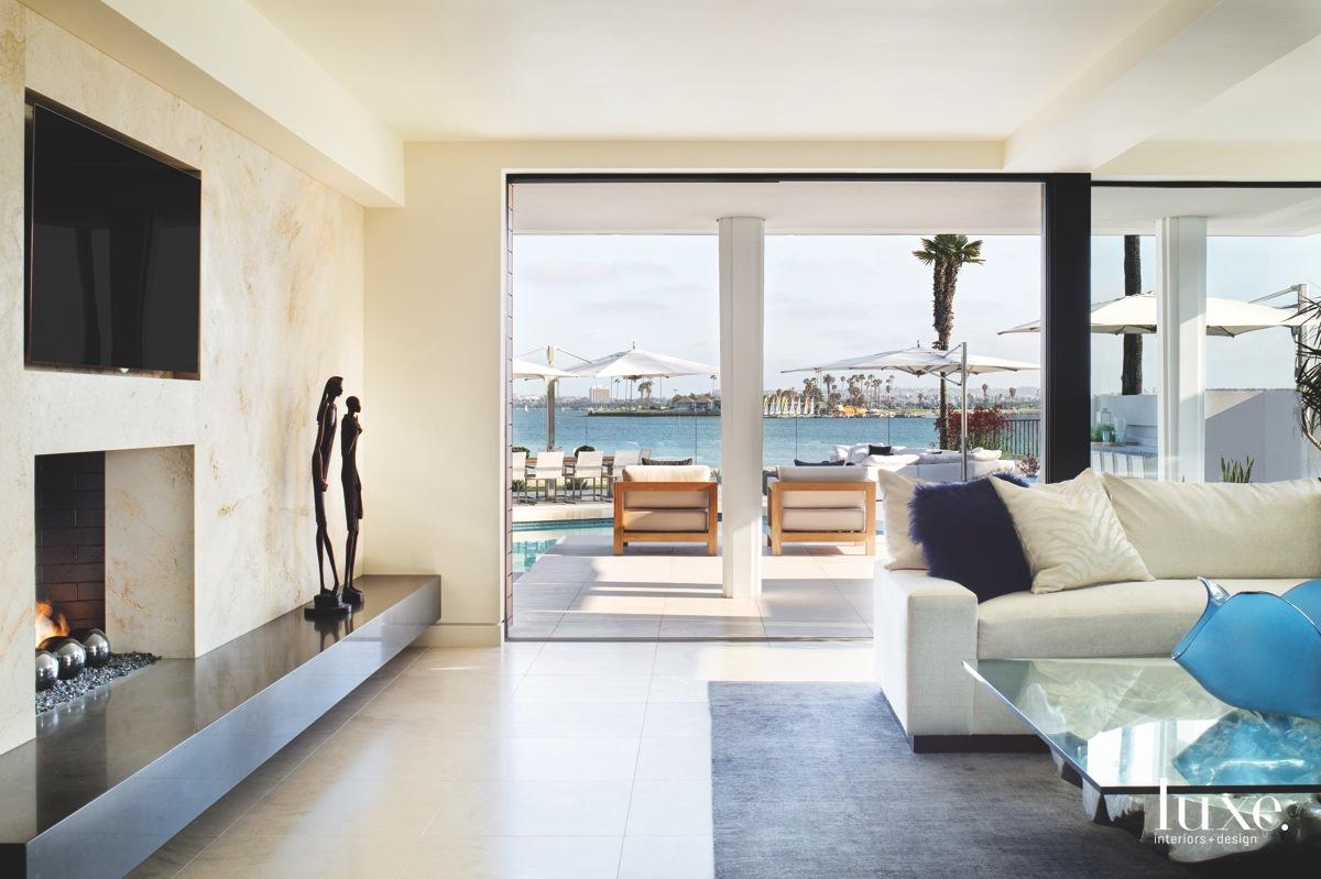 modern living room white sectional...