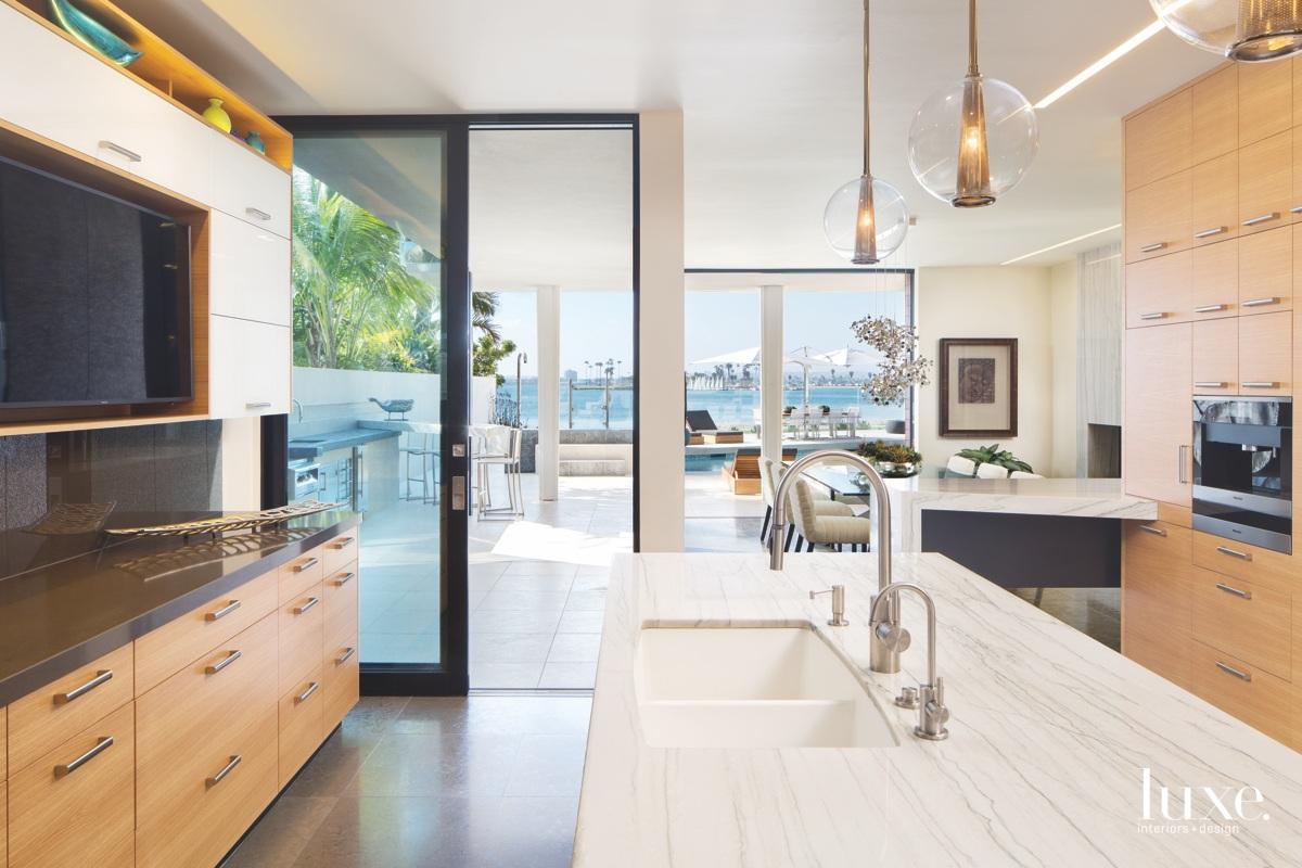 modern kitchen oak cabinetry