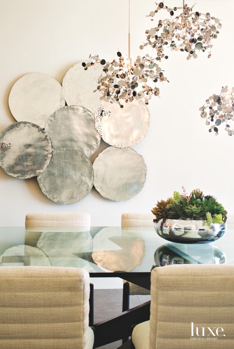 modern dining room neutral metallic...