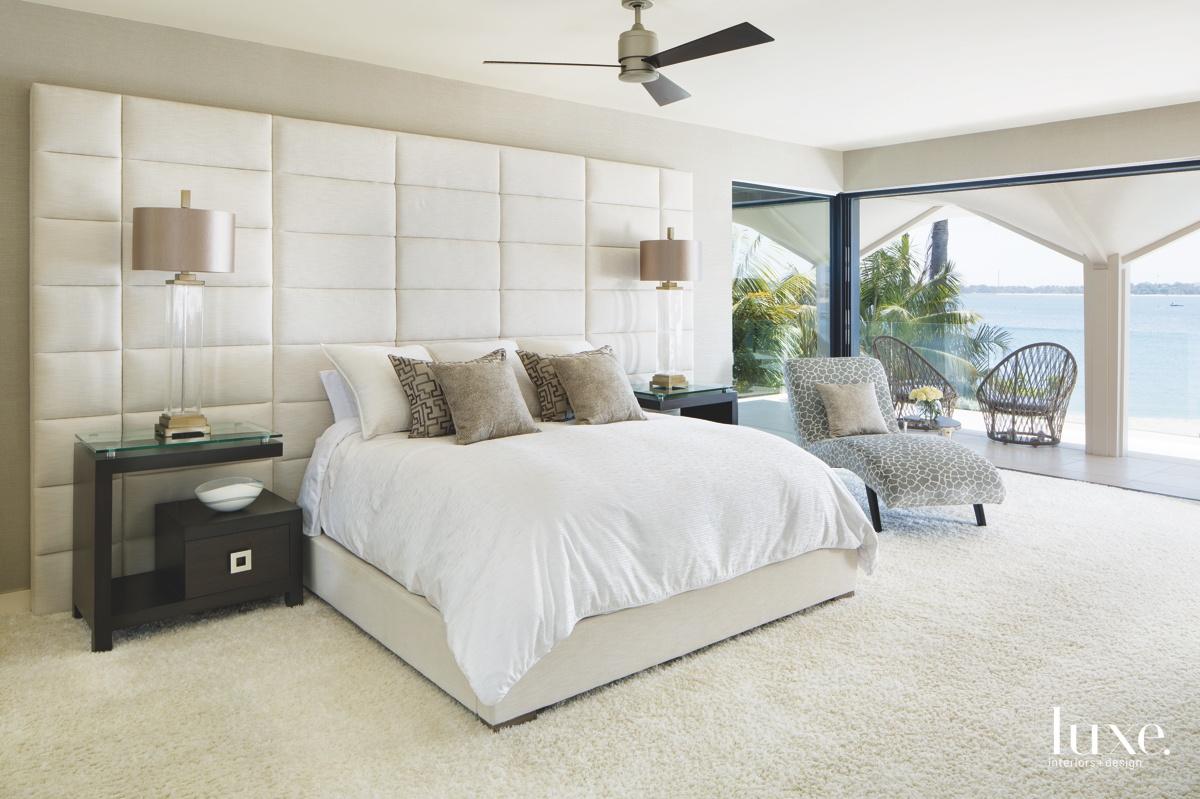 modern neutral bedroom white bed