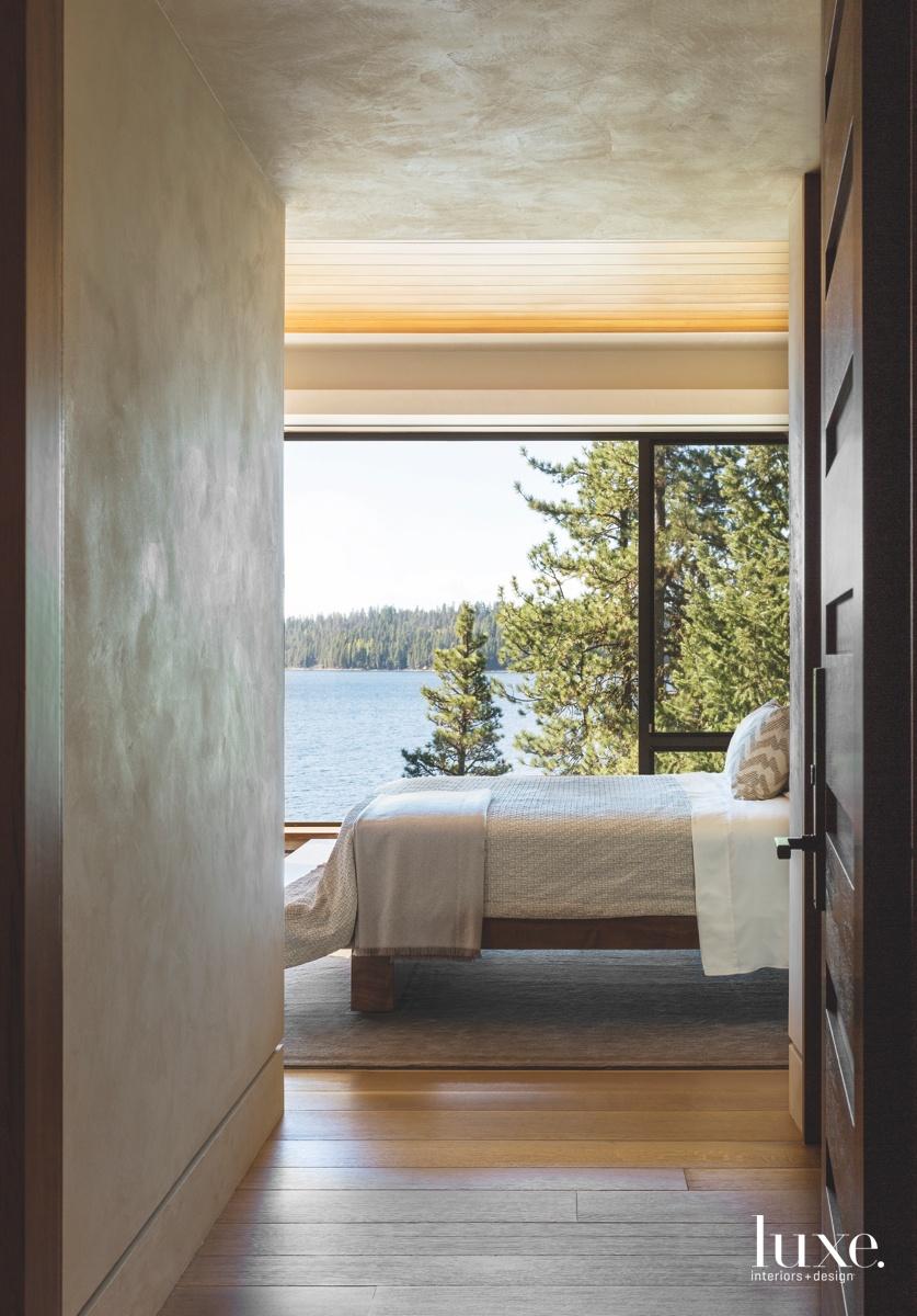 contemporary hallway into bedroom low...