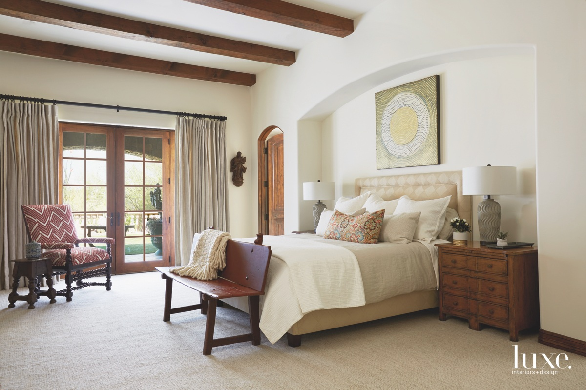 traditional bedroom neutral brown antique...