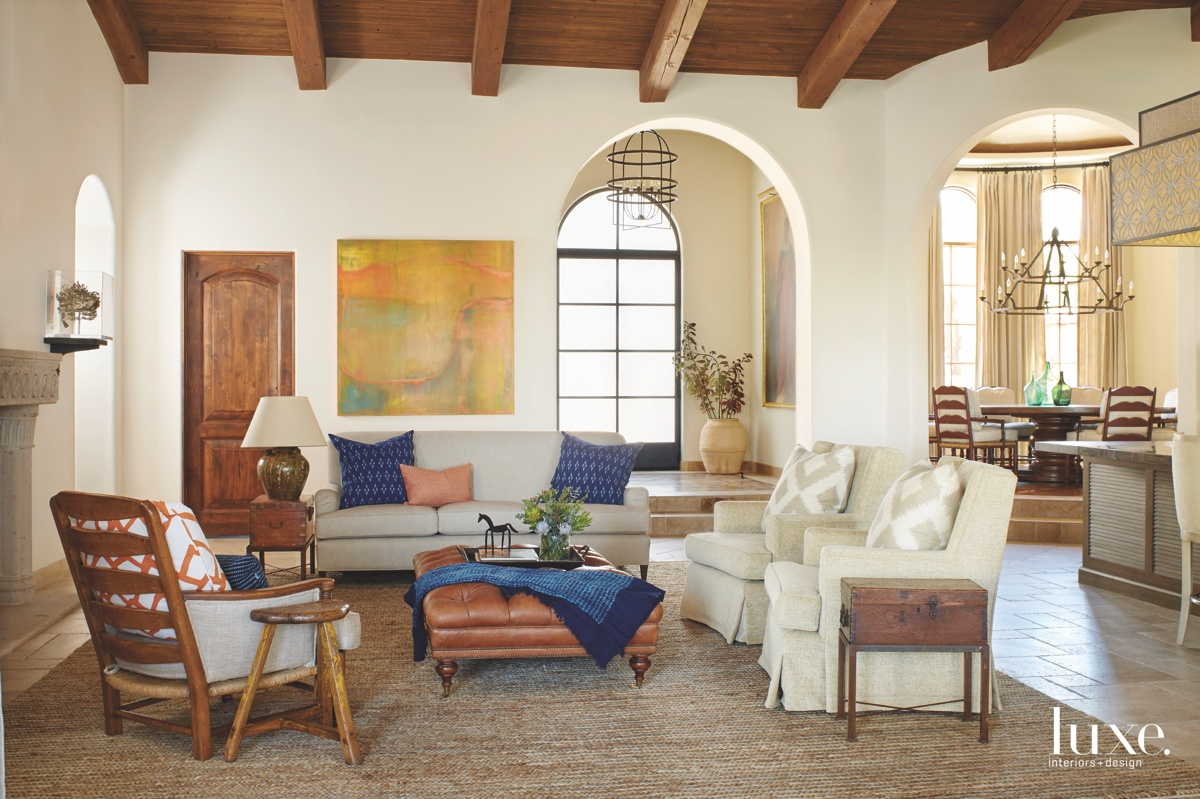 traditional living room antique accent...