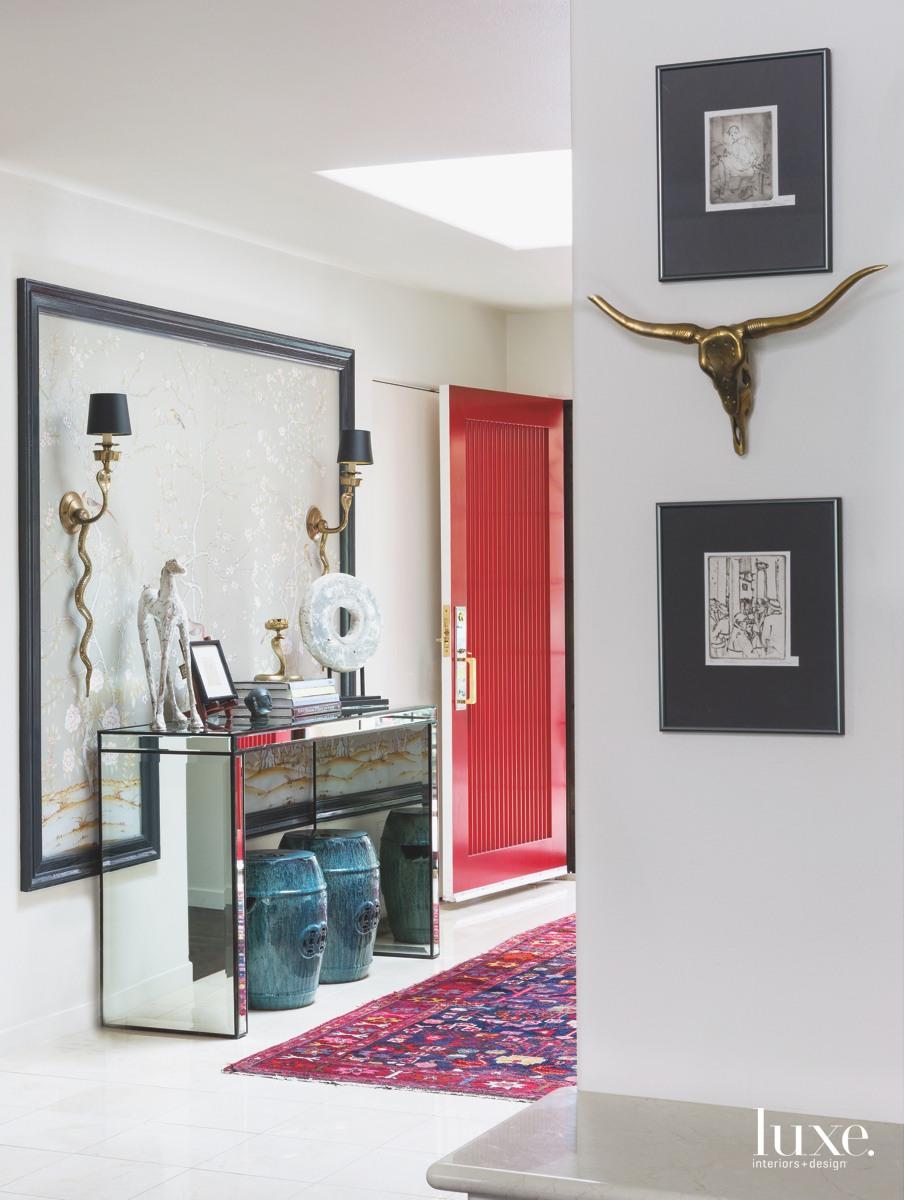 modern white entry mirror console...