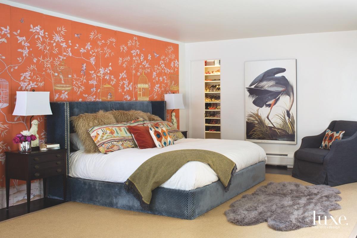 modern bedroom orange wall screen...