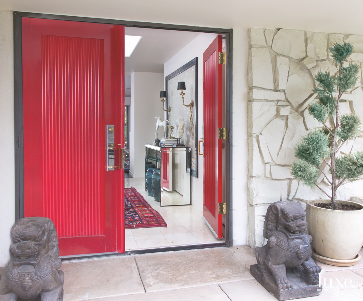modern exterior entry red front...