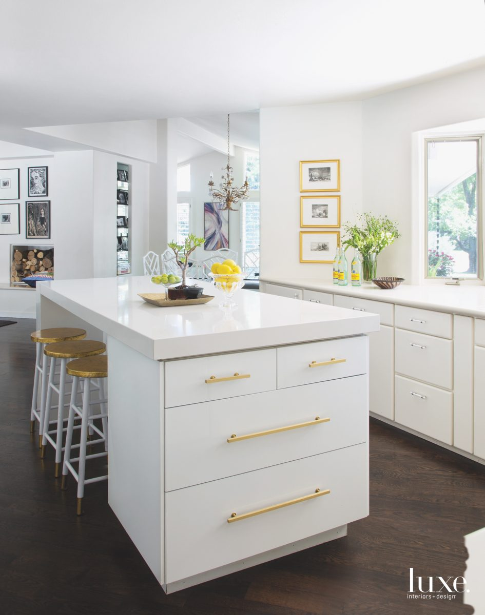 modern white kitchen gold accents