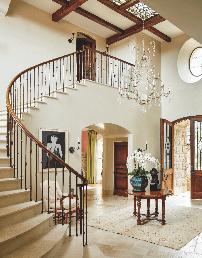 traditional foyer staircase neutral