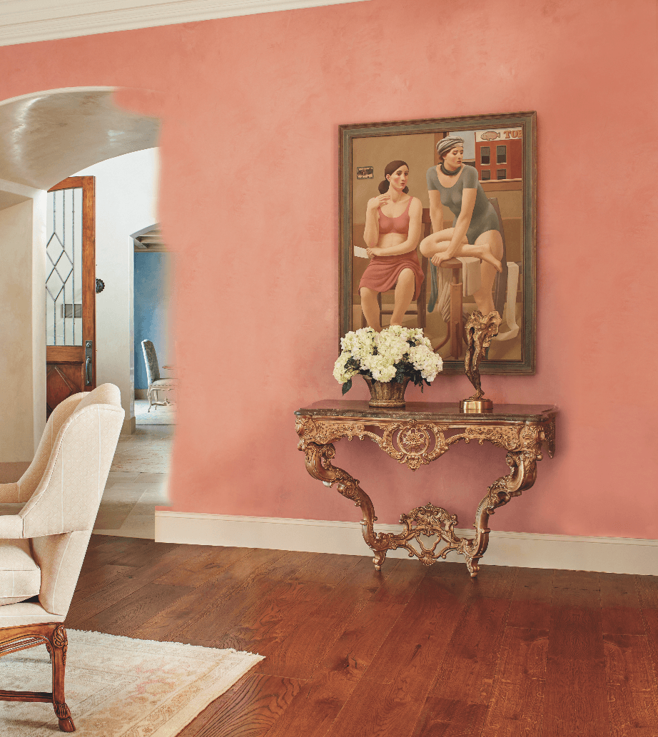 traditional pink wall living room...