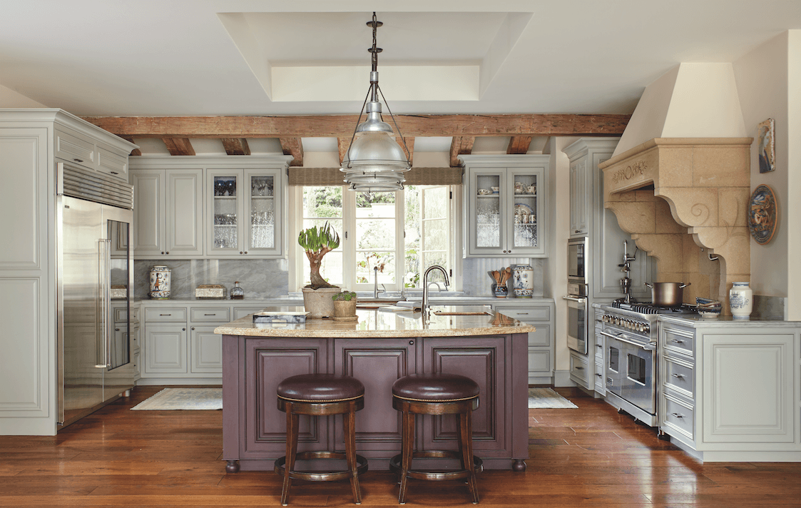 traditional neutral kitchen island counter...