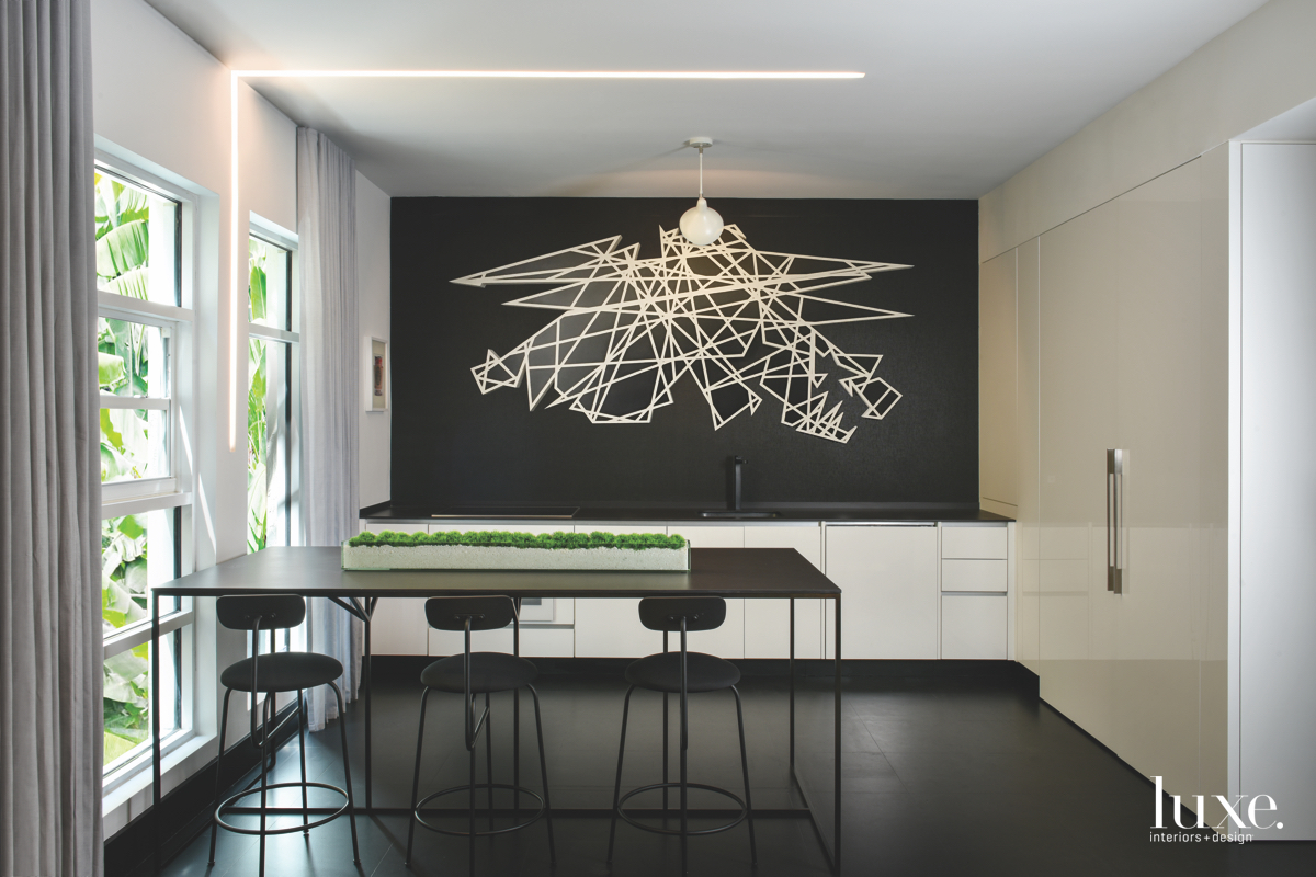 contemporary kitchen black and white...