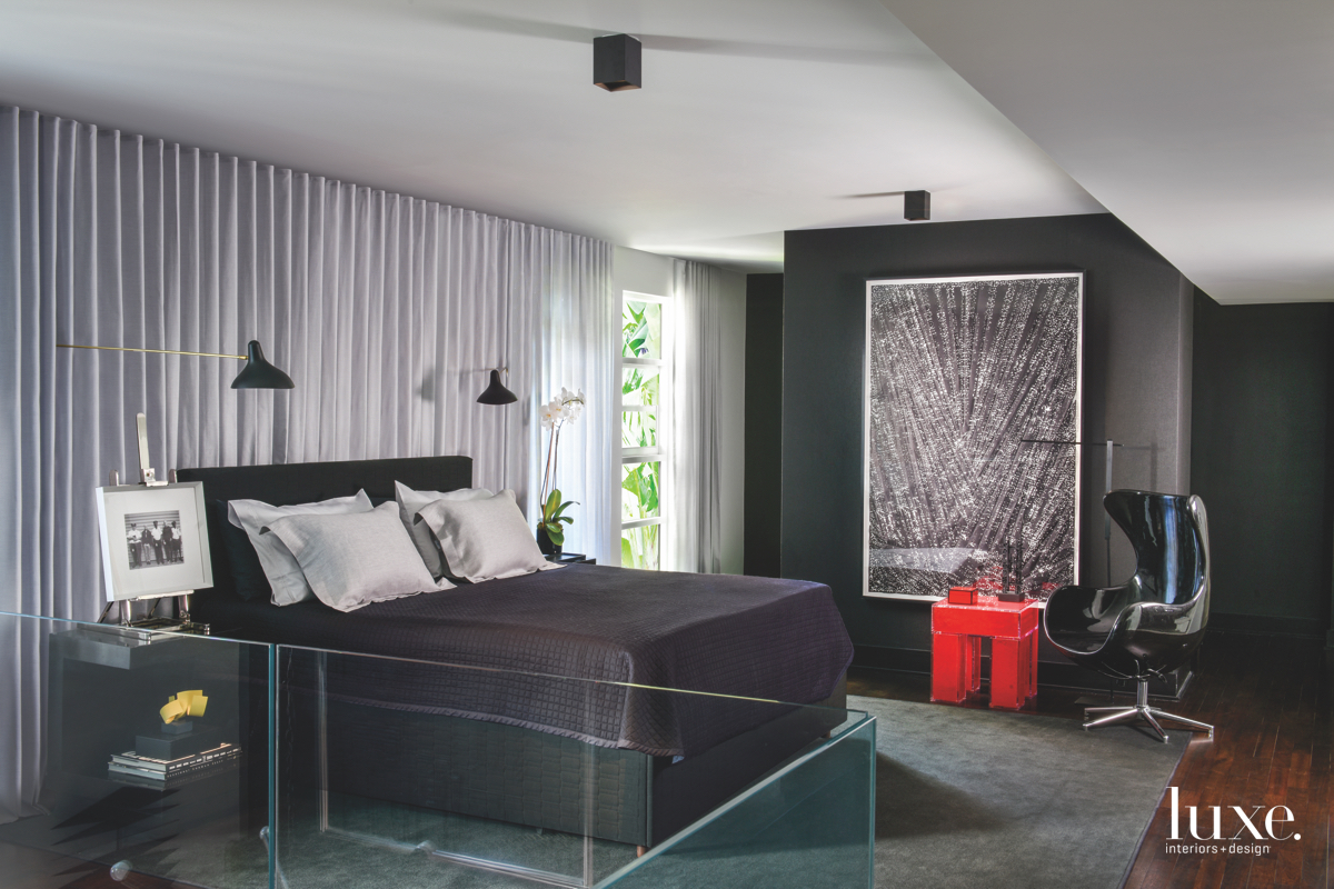 contemporary black bedroom black carpet